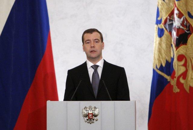 Dmitry Medvedev forsætisráðherra Rússlands og formaður flokksins Sameinað Rússland.