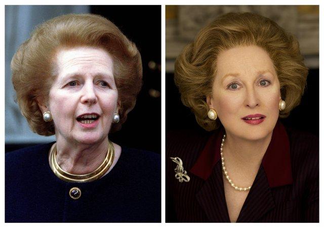Margaret Thatcher og Meryl Streep í hlutverki Thatcher.