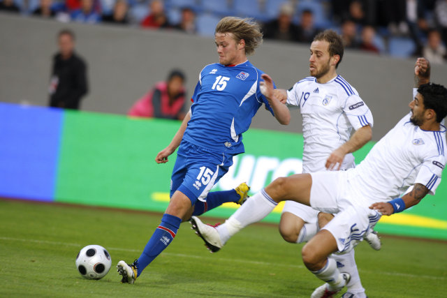 Birkir Bjarnason kom Íslandi yfir á 18. mínútu.