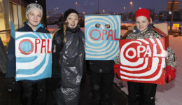 Icelandic children in costume on Ash Wednesday, dressed up as boxes of Opal liquorice.