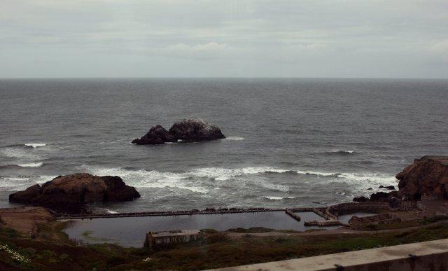 Horft yfir Kyrrahafið frá San Francisco í Bandaríkjunum.