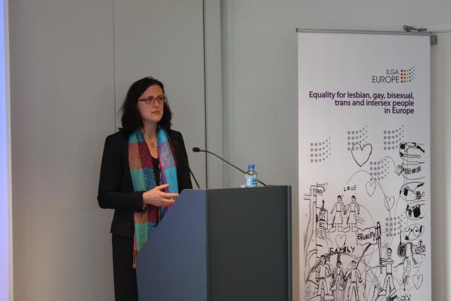 Cecilia Malmström framkvæmdastjóri innri málefna í framkvæmdastjórn Evrópusambandsins á fundinum ...