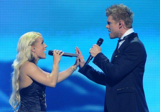 Greta Salóme and Jónsi performing at the 2012 Eurovision Song ...