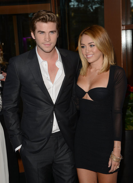 Liam Hemsworth og Miley Cyrus árið 2012.