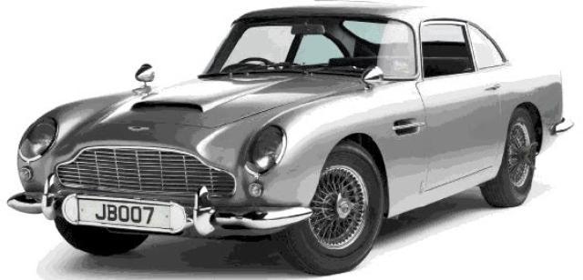 Sígildur Aston Martin DB5 sást fyrst í Goldfinger og svo ...