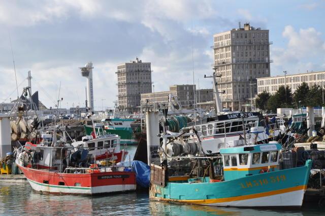 Frá fiskihöfninni í Le Havre í Frakklandi.