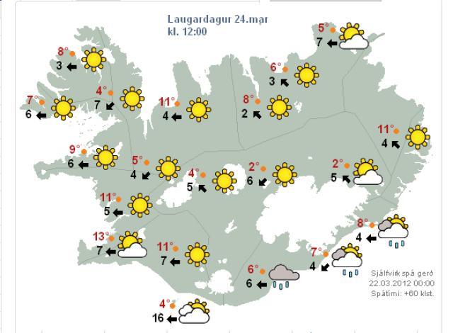 Veðrið verður fallegt um hádegisbil á laugardag.