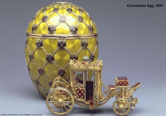 Fabergé-egg eru gríðarverðmætir dýrgripir sem framleiddir voru í St. Pétursborg ...