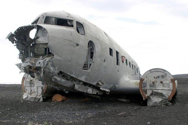 Flakið af C-117 flugvélinni á Sólheimasandi.