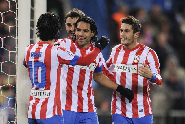 Radamel Falcao fagnar ásamt félögum sínum í Atletico Madrid.