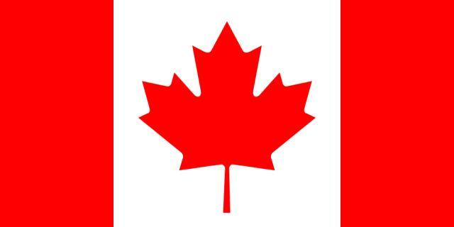 Kanadíski fáninn sýnir laufblað af kanadískum hlyn.