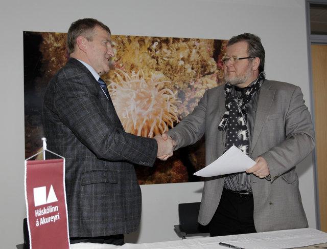 Stefán B. Sigurðsson rektor Háskólans á Akureyri og Össur Skarphéðinsson ...