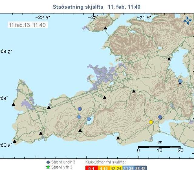 Kort Veðurstofu Íslands sem sýnir skjálftavirkni á Reykjanesi.