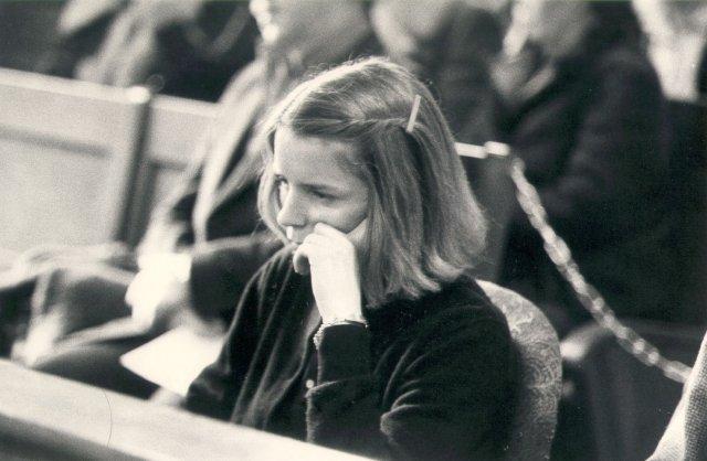 Erla Bolladóttir í réttarsal árið 1980.