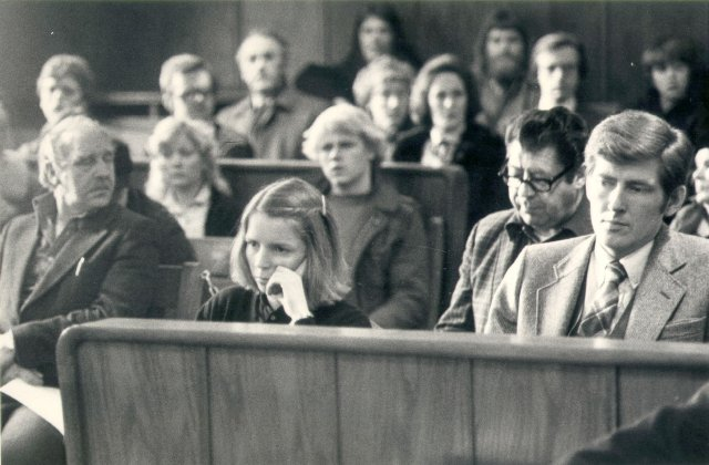 Frá réttarhöldum í Hæstarétti í Guðmundar- og Geirfinnsmálinu árið 1980. ...