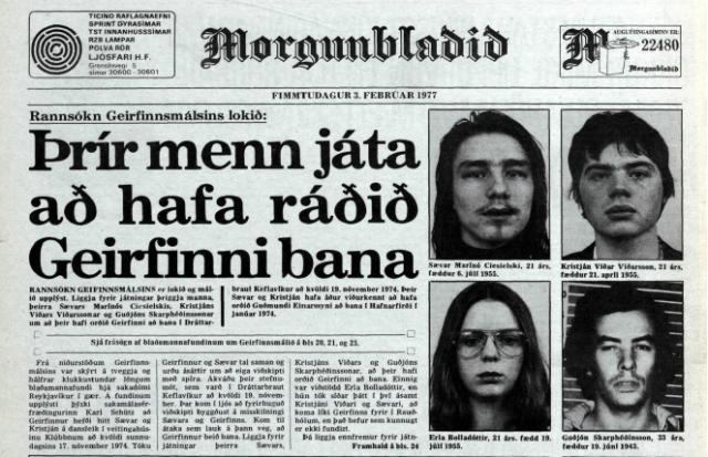 Morgunblaðið 3. febrúar 1977. Þrír menn játað að hafa ráðið ...