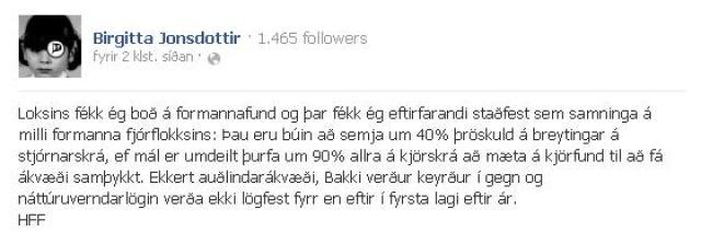Facebookfærsla Birgittu Jónsdóttur.