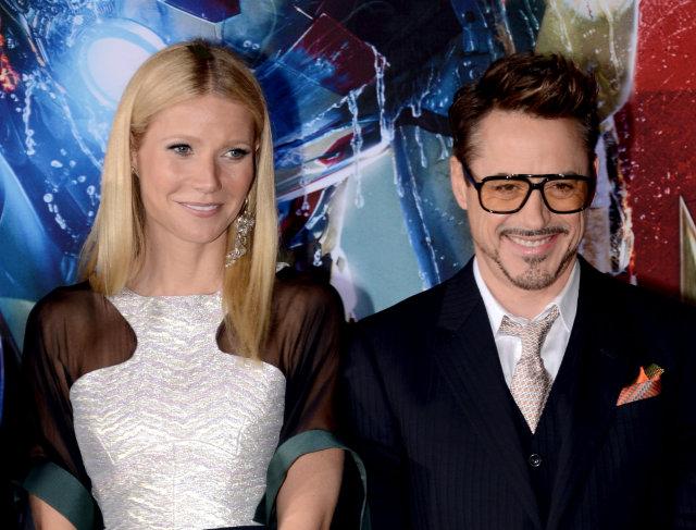 Gwyneth Paltrow og Robert Downey Jr. á frumsýningu Iron Man …
