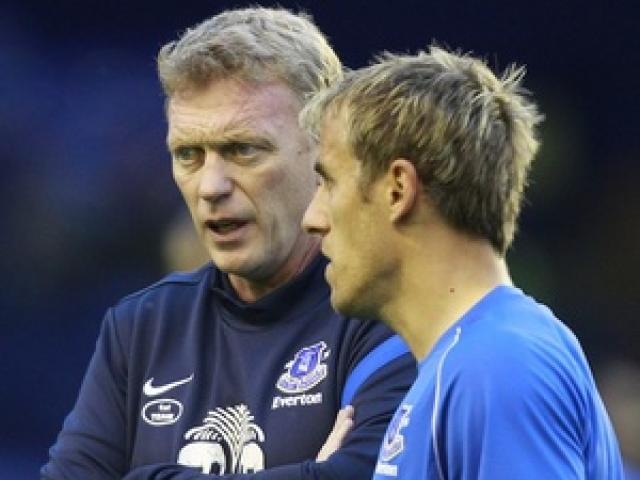 Phil Neville var fyrirliði Everton undir stjórn David Moyes.