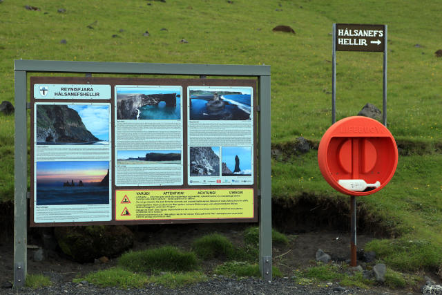 The current signs at Reynisfjara warnng of the dangers.