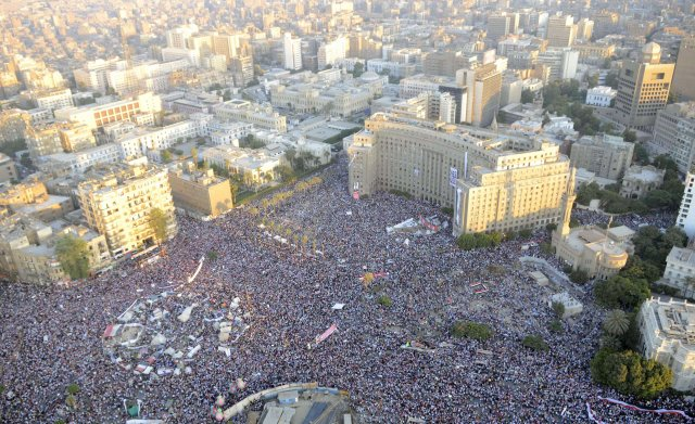 Frá Tahrir-torginu í Kaíró.