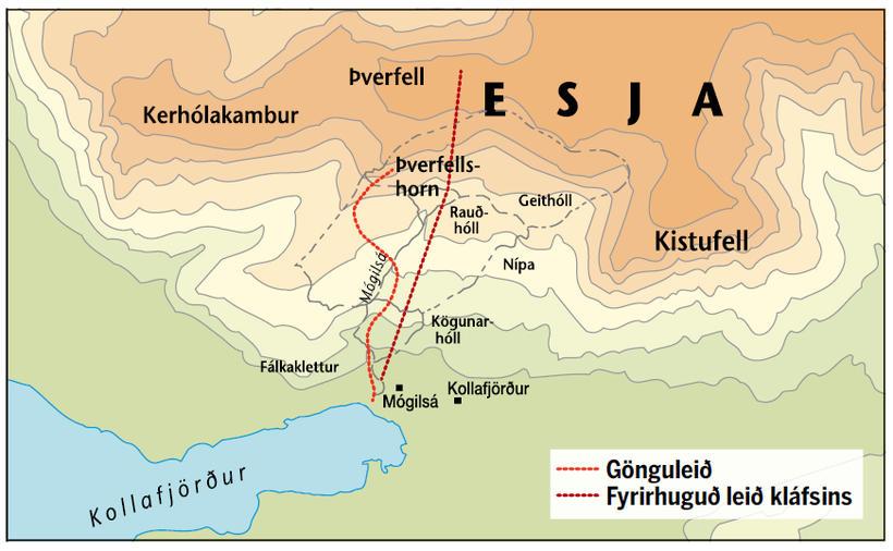 Leið ferjunnar fyrirhuguðu upp á Þverfell.