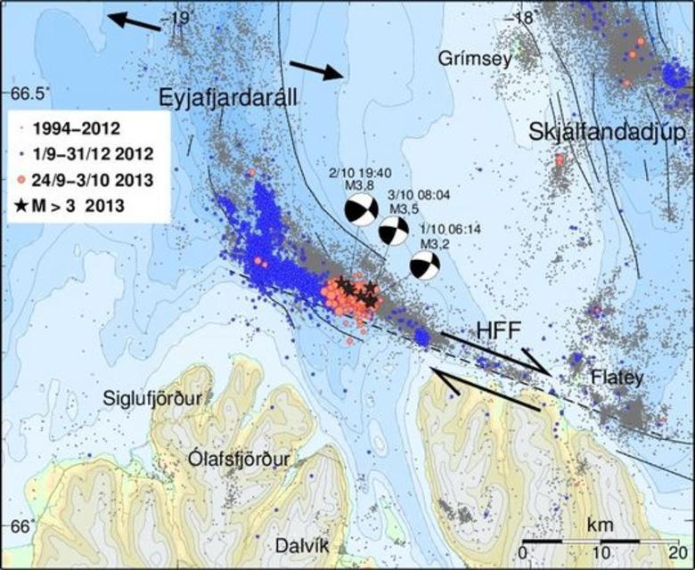 Jarðskjálftahrina sem hófst úti fyrir mynni Eyjafjarðar að kvöldi 24. ...