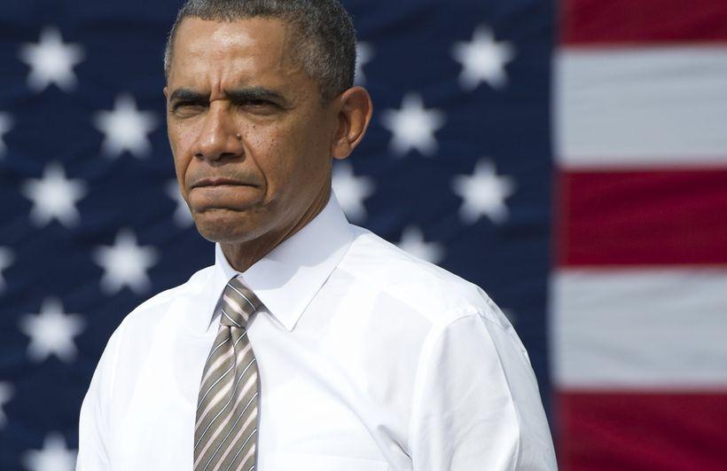 Barack Obama var þungur á brún þegar hann ræddi um …