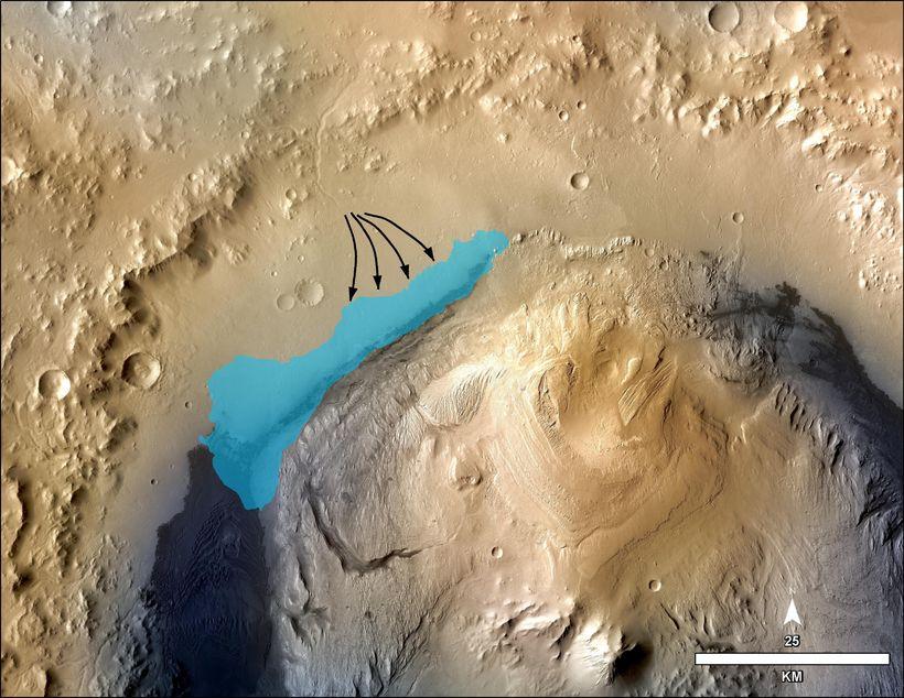 Á þessari mynd sést það svæði sem vísindamenn NASA telja ...