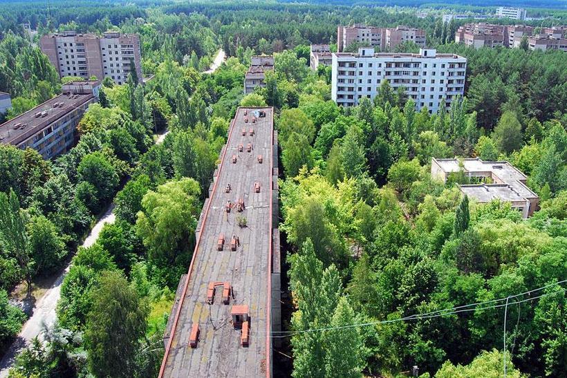 Eitt sinn bjuggu um 50 þúsund manns í borginni Pripyat ...