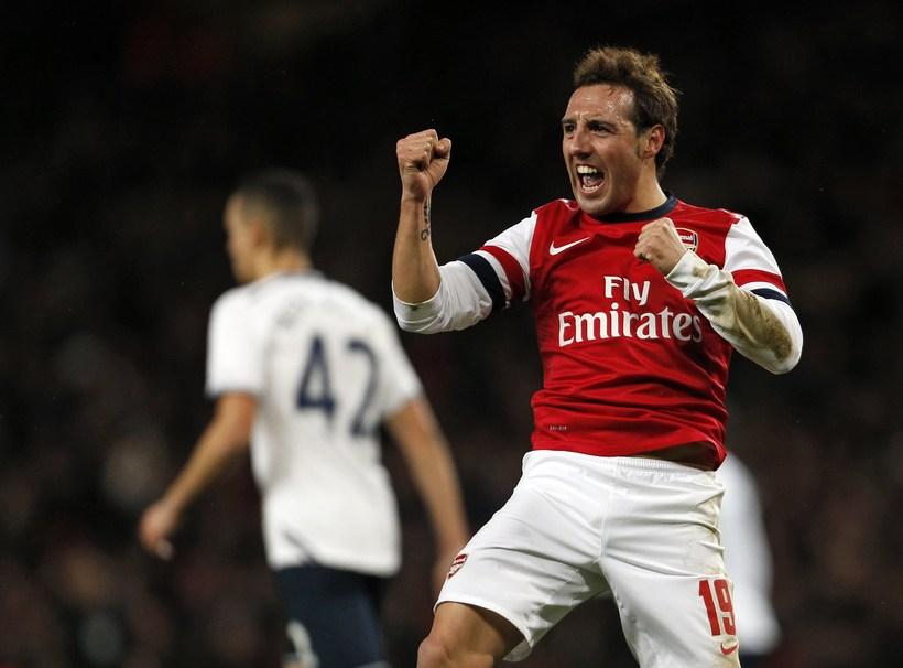 Santi Cazorla fagnar marki fyrir Arsenal.