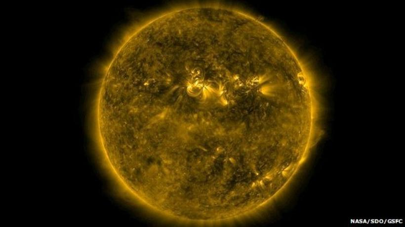 Sólin eins og hún kemur fyrir sjónir Solar Dynamics Observatory.