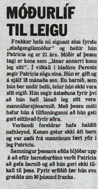 Grein DV um franska staðgöngumóður frá árinu 1984.