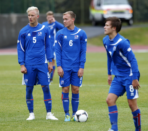 Hörður Björgvin Magnússon, Guðmundur Þórarinsson og Arnór Ingvi Traustason voru ...