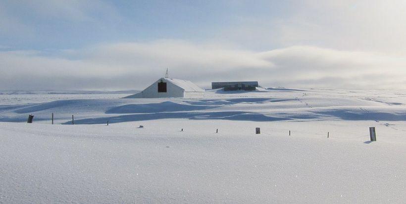 Grímsstaðir á Fjöllum, að vetri til.