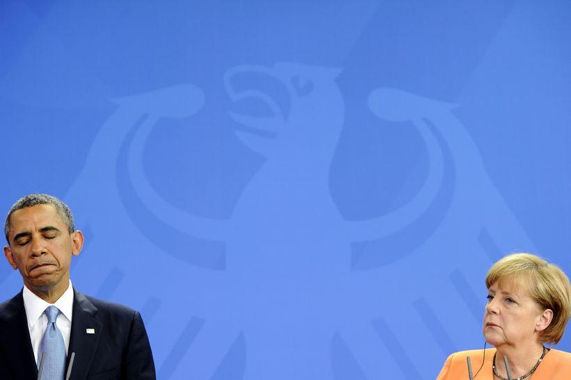 Barack Obama Bandaríkjaforseti ásamt Angelu Merkel Þýskalandskanslara.