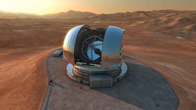Teikning listamanns af European Extremely Large Telescope (E-ELT) á Cerro ...