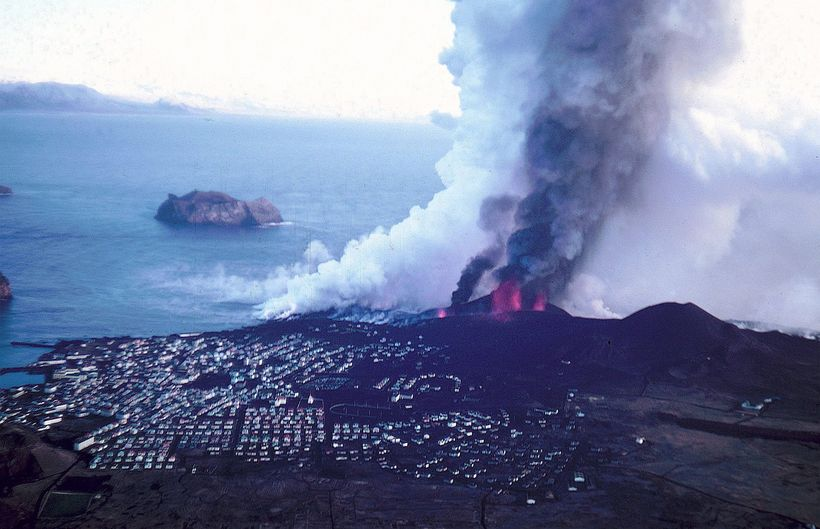 The eruption was only a few metres from town.