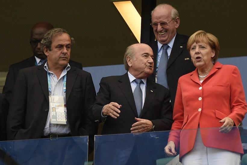 Angela Merkel var mætt til Brasilíu á leik Þýskalands og ...