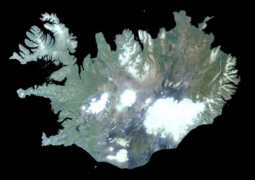 Satellite image of Iceland. Bárðarbunga is a part of Vatnajökull, ...