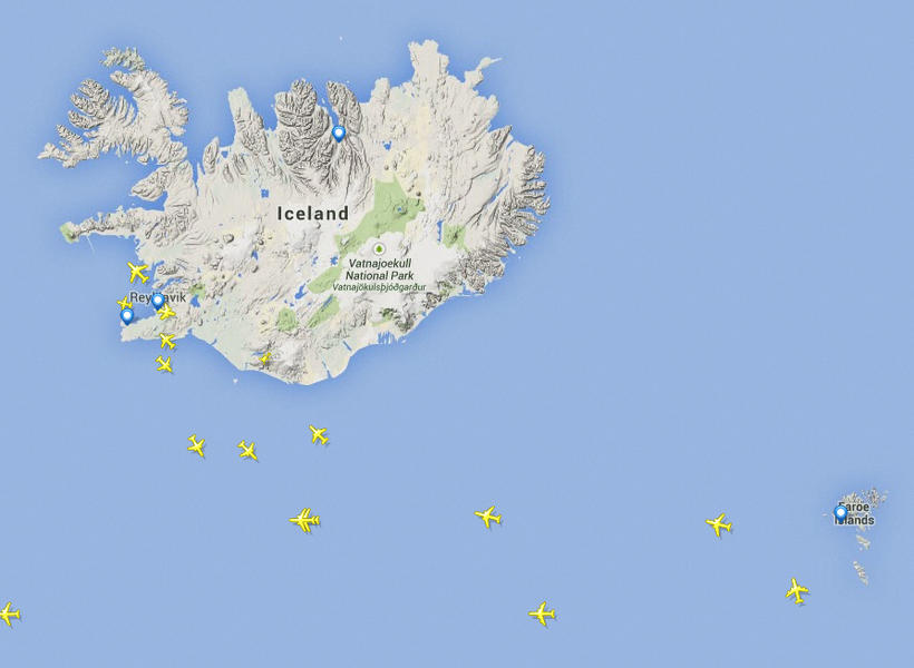 Air traffic over and around Iceland