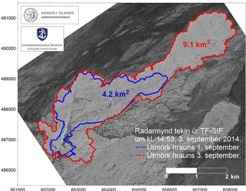 A map showing changes in the lava-field. The blue line …