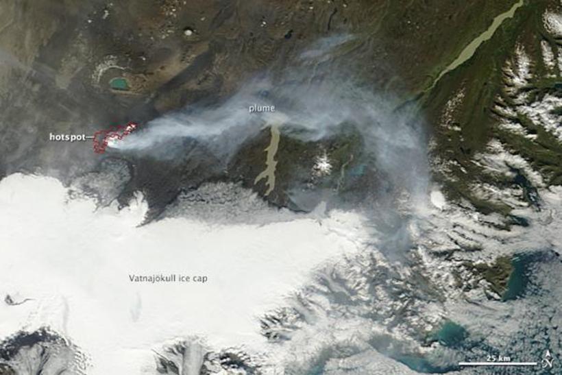 Mynd NASA af Bárðarbungu og eldstöðvunum í Holuhrauni