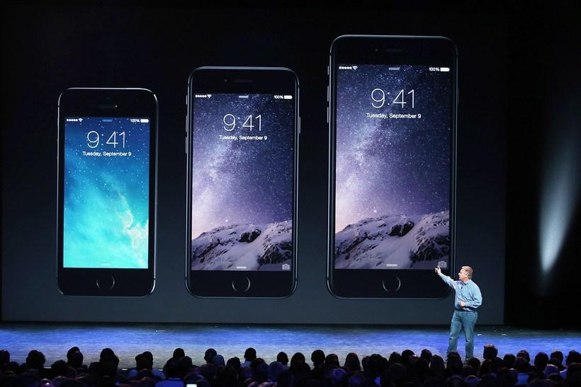 Nýju símarnir frá Apple. IPhone 5 er lengst til vinstri …
