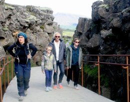 Tourists in Þingvellir National Park.