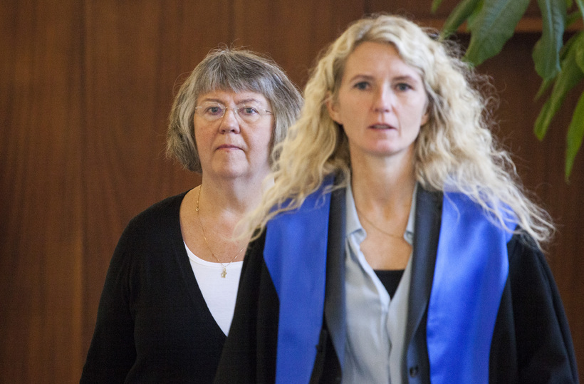 Elín Sigfúsdóttir og Helga Melkorka Óttarsdóttir, verjandi hennar, þegar málið …
