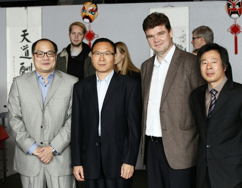 Chen Laiping sendiráðsnautur, Zhang Weidong, sendiherra Kína á Íslandi, Magnús ...