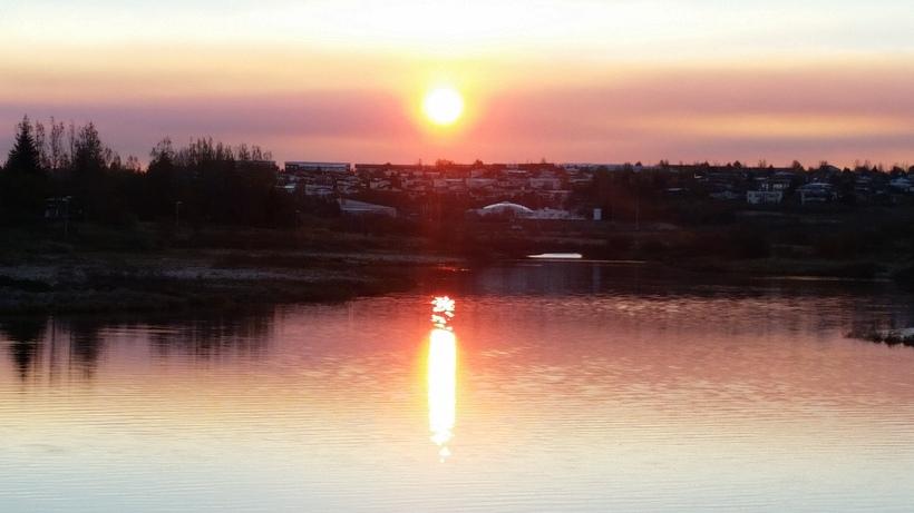 Myndin er tekin í Elliðarárdalnum við stífluna.