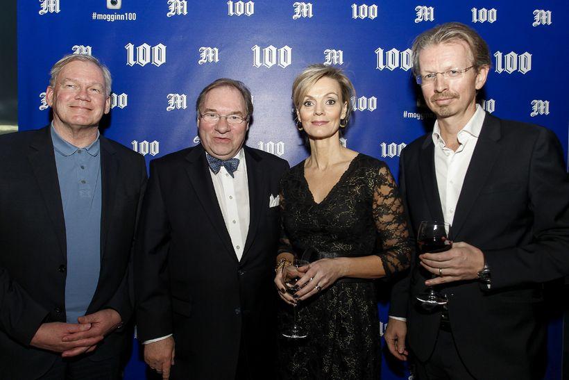 Hannes Hólmsteinn, Kjartan Gunnarsson, Ásdís Halla og Aðalsteinn eiginmaður Ásdísar …
