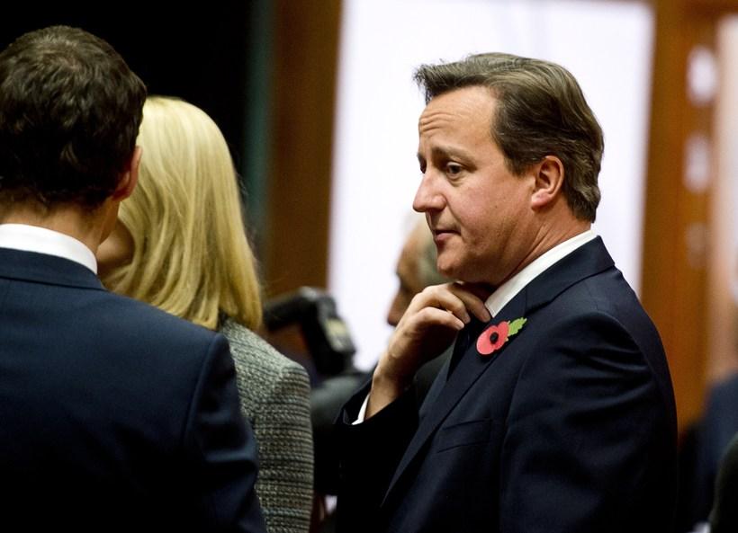 David Cameron í höfuðstöðvum ESB í Brussel í dag